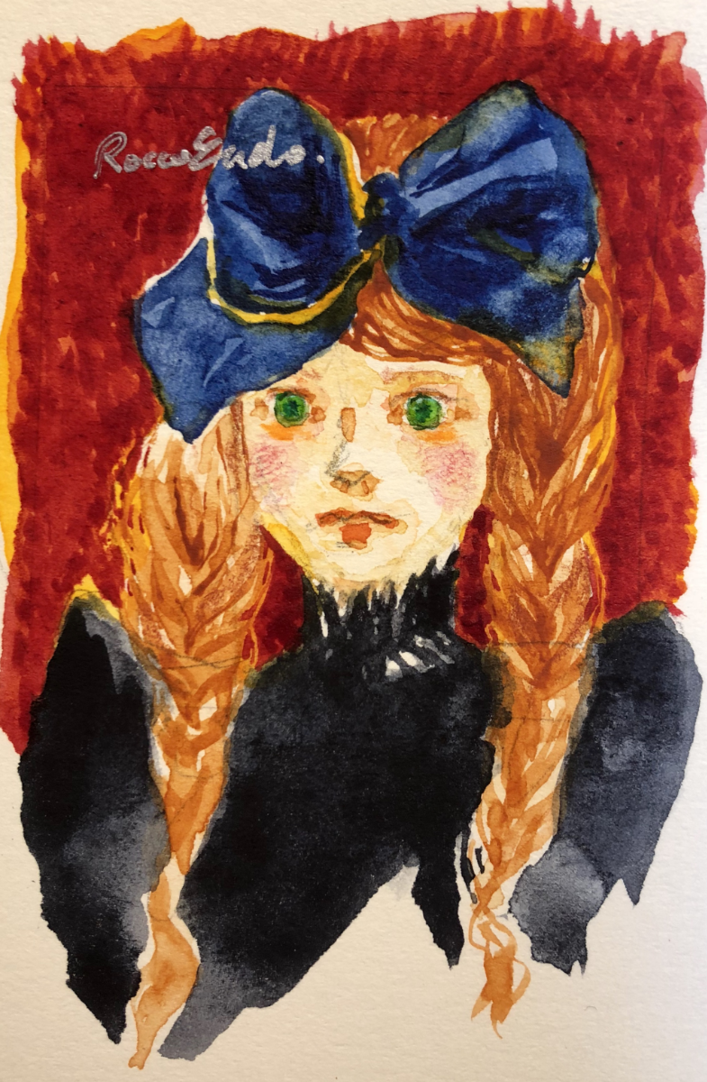 a Girl with blue ribbon